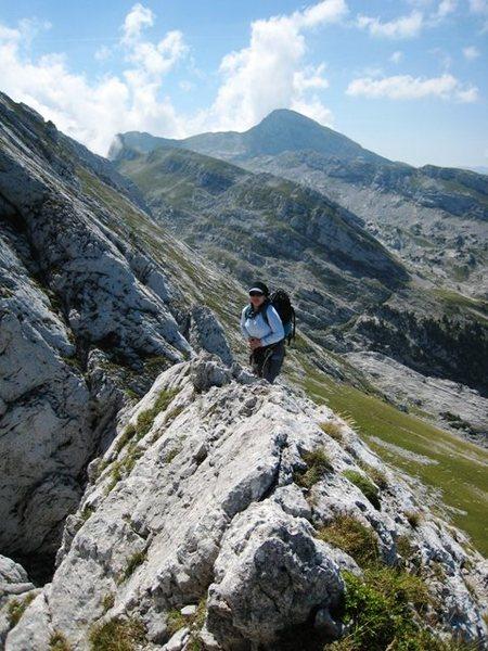 Rock Climbing Photo: Carol Petrelli on the top of p5 of Pilier Martin.