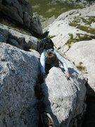 Rock Climbing Photo: Carol Petrelli third classes the last pitch to the...