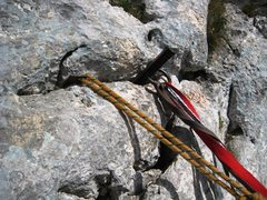 Rock Climbing Photo: Rappel anchor on the southern end of the Traversé...