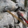 Rappel anchor on the southern end of the Traversée des arêtes on Gerbier
