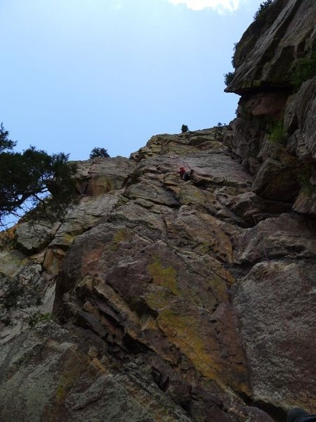Rock Climbing Photo: Climber on Great Zot; Rewritten follows the flake ...