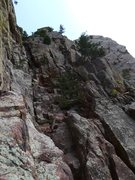 Rock Climbing Photo: From Rewritten/Great Zot, cross over the W Chimney...