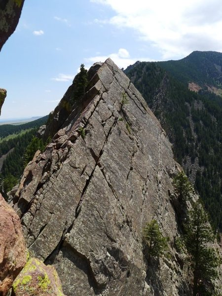 Rock Climbing Photo: The ramp downclimb from the summit of Yellow Spur ...