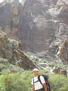 Rock Climbing Photo: my dad in front of prince of Darkness