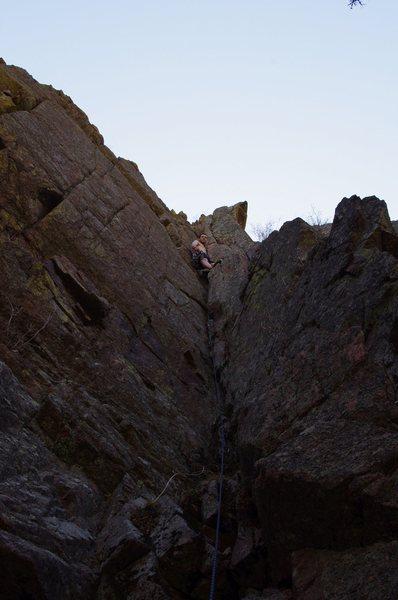 Rock Climbing Photo: Gabe on the FA of Demerit.