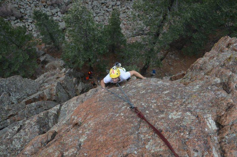 Rock Climbing Photo: Navigating the upper slab.