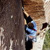 Matt Kuehl on the alternate 5.11b start to All You Can Eat.
