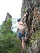 Rock Climbing Photo: Kenny Johns leads Two Pitch(5.4) with Pinky Pillar...