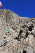Rock Climbing Photo: The climb follows the pink rope - Jen McAllister l...