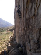 Rock Climbing Photo: Nate approaching the crux on 'Bat Hooks Gone Wild'...