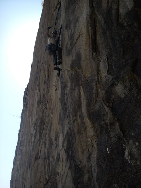 Rock Climbing Photo: Nate getting pumped after the crux of 4 hook moves...