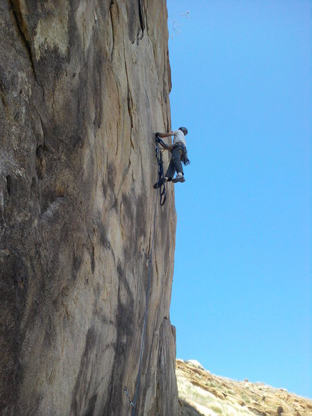 Nate airing it out on the higher, overhanging bulge of the Quarry wall.