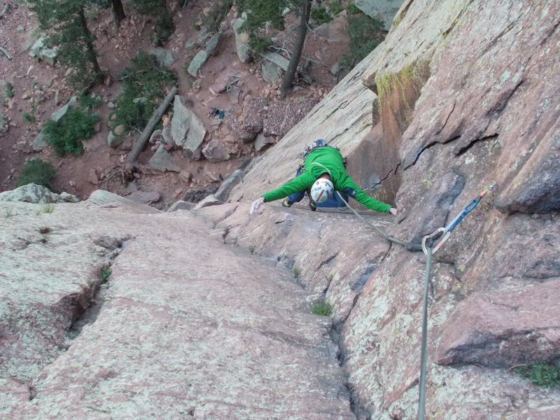 "After pulling crux on pitch 1 of ""Green Spur""."