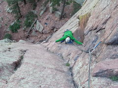 "Rock Climbing Photo: After pulling crux on pitch 1 of ""Green Spur&..."