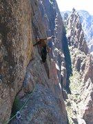 Rock Climbing Photo: P4 traverse above the Black Corner option.