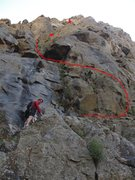 Rock Climbing Photo: An overview of the route from below.