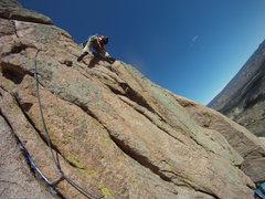 Rock Climbing Photo: 2nd pitch traverse right, hitting the arete.