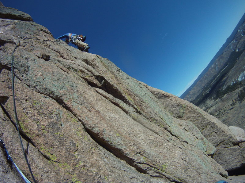 Rock Climbing Photo: 2nd pitch traverse over to the arete and about to ...