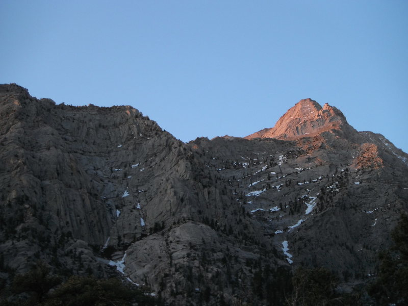 Alpenglow on the North Ridge of Lone Pine Peak, as seen from the Meysan Lakes Trail