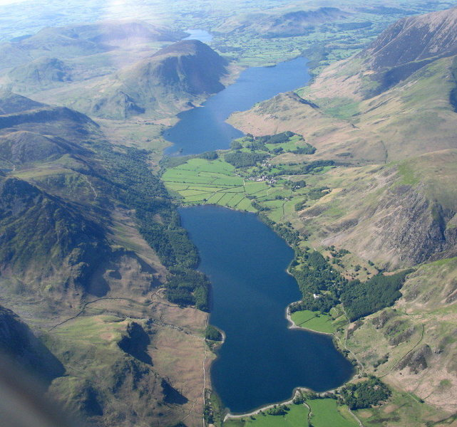 Buttermere Valley with the two lakes of Buttermere and Crummock Water.Ledington