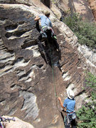Rock Climbing Photo: The Approach Pitch onto the ledge. Protected by on...