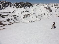 Rock Climbing Photo: Skiing Handies Peak with smoke dog