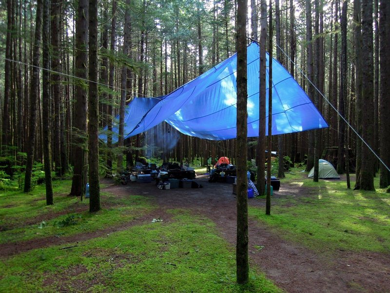 Big blue tarp at Colins Camp