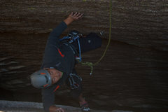 Rock Climbing Photo: Grant coming up the 5.9 bolted chimney on the same...