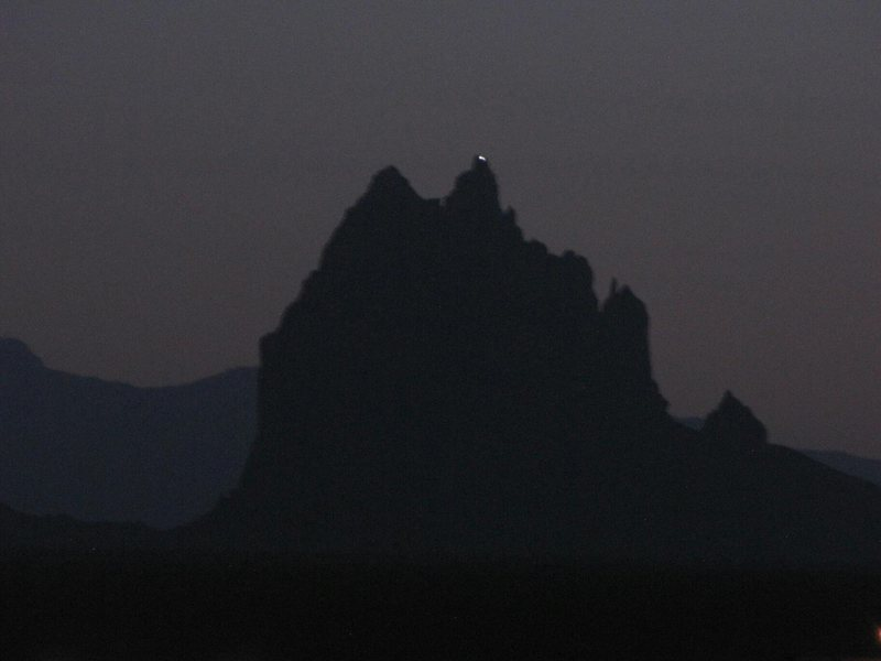 Summit shot of Ship Rock pinnacle on March 26, 2012 (#499).  Photo taken by Jeff Tutt from Shiprock, NM Farm Road