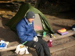 "Rock Climbing Photo: When ""boofen"", you don't need a tent bec..."