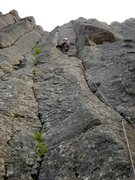 Rock Climbing Photo: Shirley leading Pure Joy (2009).  Took a small but...