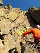 Rock Climbing Photo: Shirley leading Developing Arms (Dec. 2011) belaye...
