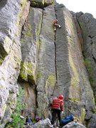 Rock Climbing Photo: Leading the very fun Jam Exam (2006) belayed by ou...