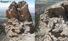 Rock Climbing Photo: The approximate lines of the downclimbs that bypas...