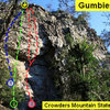 GUMBIES ROOF<br> <br> Aerial Act (5.10d)<br> Eye Sockets (5.10)<br> Gumbies Go Home (5.10d)<br> <br> Crowders Mountain State Park, North Carolina