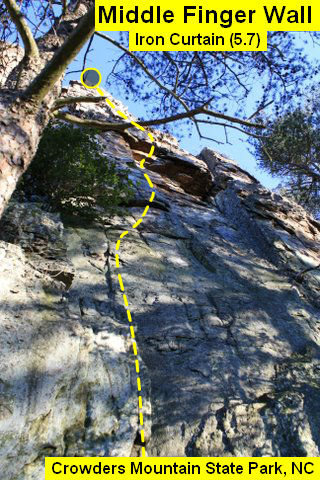 Middle Finger Wall<br> <br> Iron Curtain (5.7) trad<br> <br> Crowders Mountain State Park, North Carolina