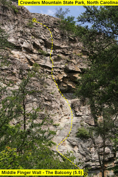 Middle Finger Wall<br> <br> 1)The Balcony (5.5) trad<br> <br> Crowders Mountain State Park, North Carolina