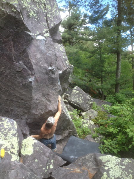 Remo trying it out on a nice morning.  These are the starting holds.
