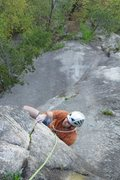 Rock Climbing Photo: Baldy, pulling the roof pitch 5, 5.11d