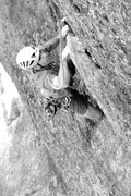 Rock Climbing Photo: Baldy on pitch 3 on the fun flake before the 5.11a...