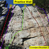 Practice Wall<br> <br> 1)Black Flag (5.10d)<br> 2)Heady Areteddy(5.9)<br> 3)Gastonia Crack (5.4)<br> 4)Playground (5.9+)<br> 5)The Wall (5.10a)<br> 6)Brick In The Wall (5.10d)<br> 7)Another Brick In The Wall (5.10d)<br> 8)Mikes Crack (5.5)<br> 9)So It Goes (5.8+)<br> 10)Unknown (5.5)<br> <br> Crowders Mountain State Park, North Carolina