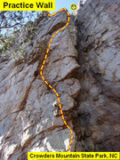 Rock Climbing Photo: Practice Wall  Heady Areteddy (5.9)  Crowders Moun...