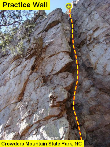 Practice Wall<br> <br> Gastonia Crack (5.4) <br> <br> Crowders Mountain State Park, North Carolina