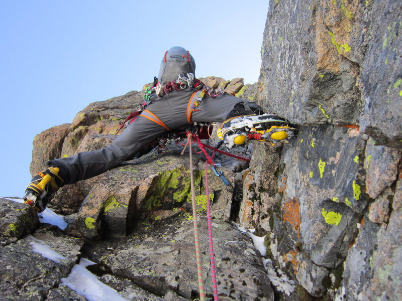 Rock Climbing Photo: Chris moving up steep 4th pitch, direct variation,...
