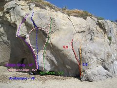 Rock Climbing Photo: Follow the pink line!