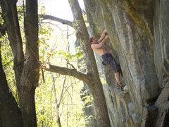 Rock Climbing Photo: Mark on Yellow Matter Custard. 5.13a. bagleyheayba...