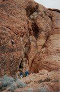 Rock Climbing Photo: Jeff Laina Climbing American Sportsman. Jan.1992.