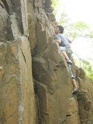 Rock Climbing Photo: Charlie on the start of Bottom Feeder