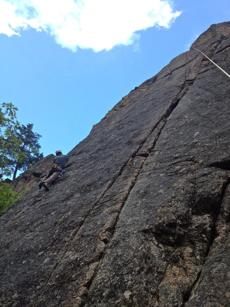 Rock Climbing Photo: Climbing the excellent face pitch left of the Iron...