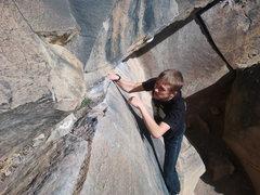 Rock Climbing Photo: High traverse on tree slab